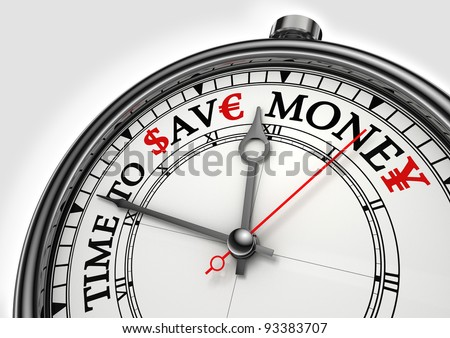 time to save money concept clock closeup on white background with red and black words