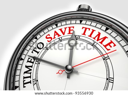 time to save time concept clock closeup on white background with red and black words - stock photo