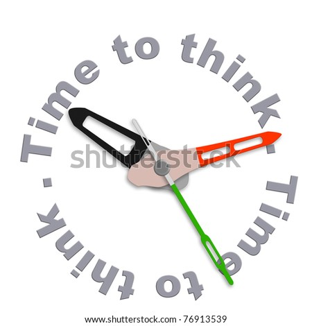 Time to think consider thoughts and make balanced decision isolated clock indication contemplation countdown brainstorm and innovate