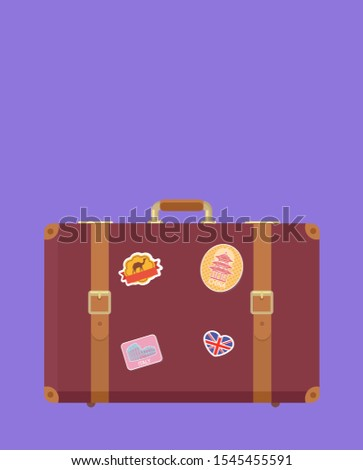 Time to travel luggage with stickers poster with text raster. Valise with Great Britain flag and Egyptian camel. Suitcase for traveling and voyage