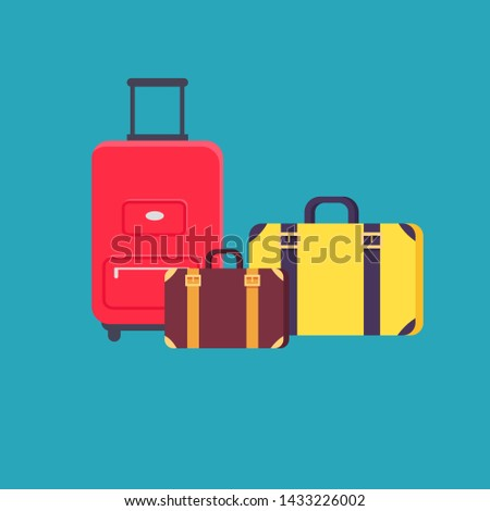 Time to travel poster headline different valises and baggages preparation for vacation holiday packing collection isolated on raster illustration