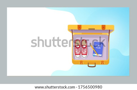 Time to travel raster, yellow open valise, personal belongings of traveler. Shoes and book of tourist, valise with stuff, shoes and book with pen. Website or webpage template, landing page flat style