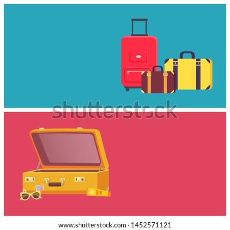 Time to travel web pages set sun lotion in tube opened luggage valises and text sample with headline of internet sites collection raster illustration
