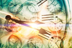 Time travel or Time machine concept, Times clocks overlay with light trail car drive high speed to hyper space fast forward timing