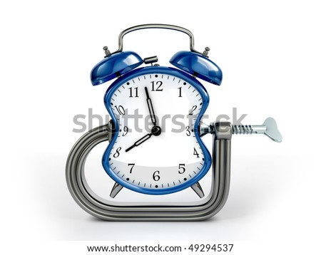 Time warp concept. C clamp squeeze blue alarm clock. - stock photo