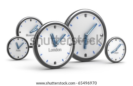 Time zones concept, on white background