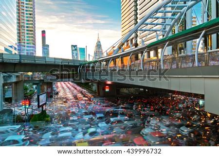 Timelapse cityscape day time at silom , Bangkok , Thailand