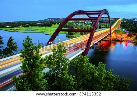 stock photo timelapse lights texas landmark pennybacker bridge austin tx colorado river during spring time 394113352 - Каталог — Фотообои «Мосты»