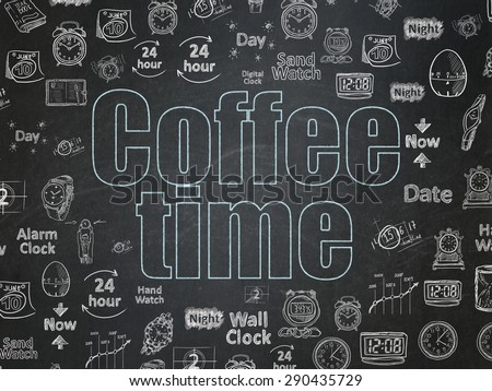 Timeline concept: Chalk Blue text Coffee Time on School Board background with  Hand Drawing Time Icons, 3d render