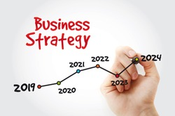 Timeline of Business Strategy with marker, business concept background