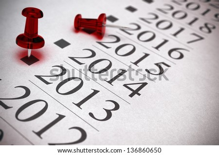 timeline with two thumbtacks one is pointing on the year 2013, blur effect, depth of field. Realistic 3D Illustration image.