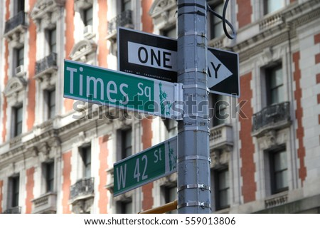 Times square and W 42nd street in New York City #559013806