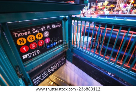 Times Square Entrance subway station at night - New York City.