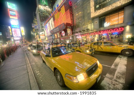 Times Square - 42nd street taxi - stock photo