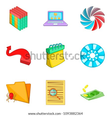 Timetable icons set. Cartoon set of 9 timetable icons for web isolated on white background