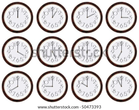 Timezone clock. Clocks showing the time around the world. On white background