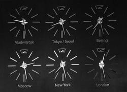 Timezone clocks in hotel