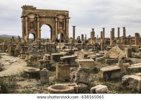 timgad  algeria   april 2  2017 ...