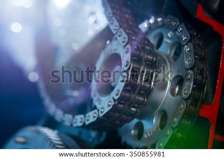 Timing chain of engine stock photo