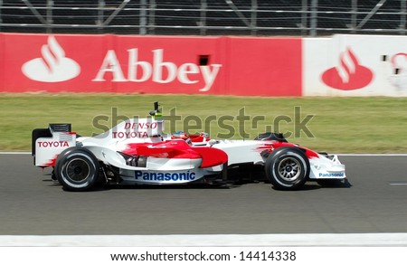 Timo Glock Formula one Racing driver completes tyre testing June 24, 2008 at Silverstone Racing circuit UK