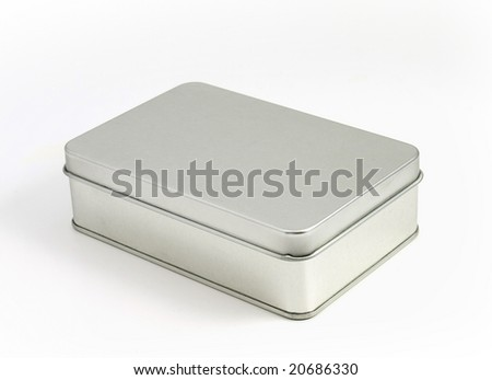 Tin box on white