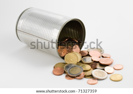 Tin can and euro coins isolated on white background