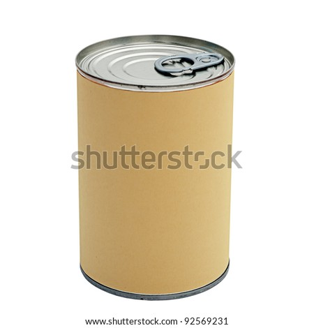 Tin can isolated with blank label, background for your message