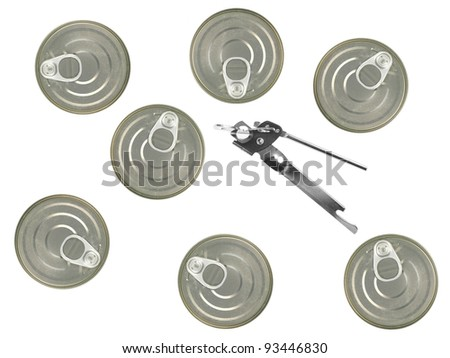 Tin can lids isolated against a white background