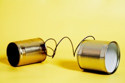 tin can phone.communication concept.