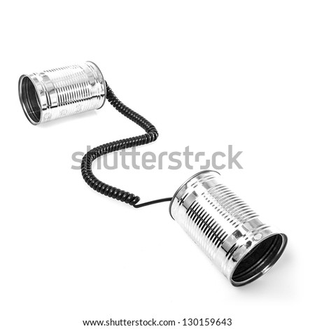 Tin can phones on white background
