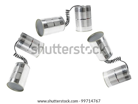 Tin Can Telephone on White Background
