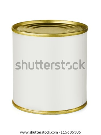 Tin can with blank white label isolated on white