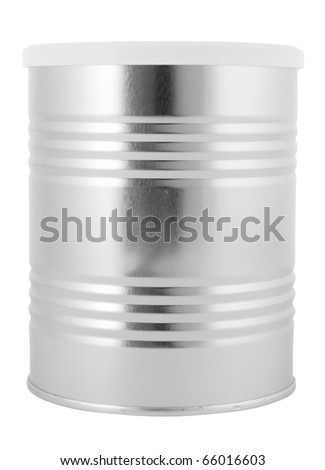 Tin can with plastic lid isolated with clipping path