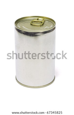 Tin can with ring pull top on white background