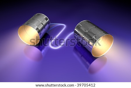 tin cans connected by string on dark reflective background