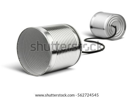 Tin cans telephone on white, global communication concept