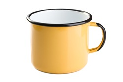 tin cup on white background