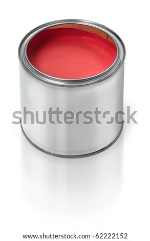 Tin metal can filled with red paint, on white background