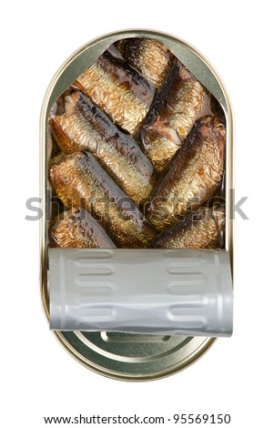 Tin with sprats on a white background