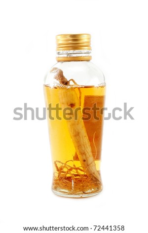 Tincture of ginseng for the glass bottle isolated on white background