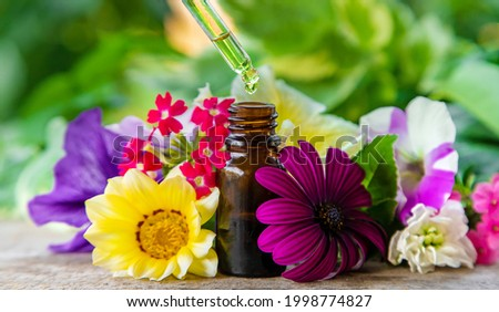 Tincture of herbal extract in a pipette drop. Selective focus. Nature. Foto stock ©