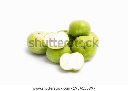 Tinda Or Praecitrullus Fistulosus Also Known As Apple Gourd Baby Pumpkin Indian Squash Round Melon Or Round Gourd Is Used In Cooking Veg Curry Masala Sabji Or Sabzi. White Background With Copy Space Foto stock ©
