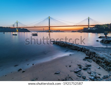 Ting Kau Bridge and Tsing Ma Bridge in Hong Kong at dusk Stockfoto ©
