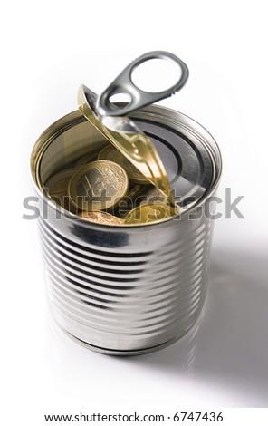 tinned euro coins