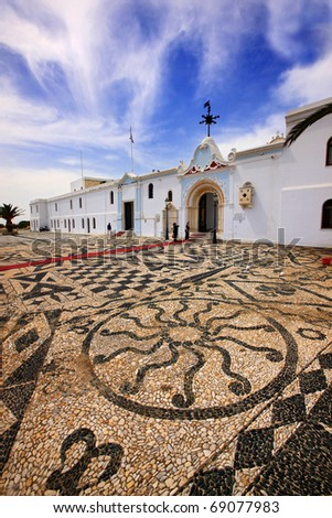 Tinos island, Greece. Traditional, impressive mosaic made of sea pebbles, outside the church of Virgin Mary, where on of the most important pilgrimages for Greek-Orthodox takes place in August 15.