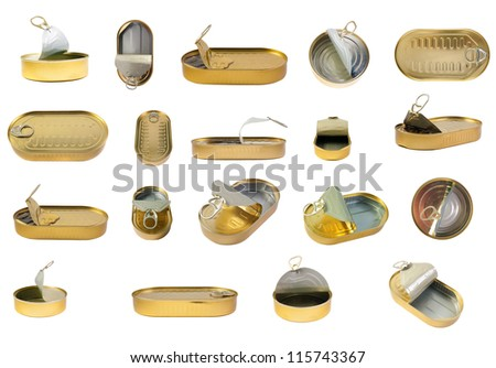 Tins collection. Can with sprats set. isolated over white background .