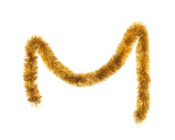 Tinsel Christmas decoration. Isolated on a white background