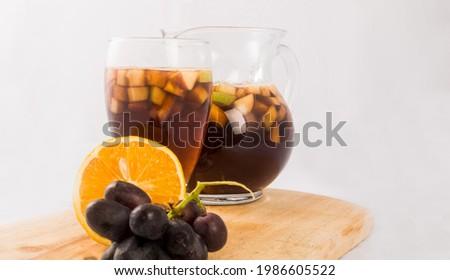 Tinto de verano, a refreshing drink with fruits Foto stock ©