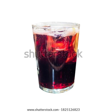 Tinto de verano (literally 'red wine of summer') isolated on white background. It is a cold, alcoholic drink popular in Spain Foto stock ©