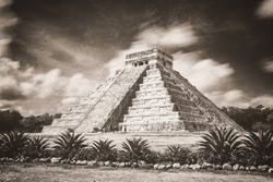 Tintype photograph of the  ancient Pyramid of Kukulcan, or El Castillo, in Chichen Itza, Mexico.